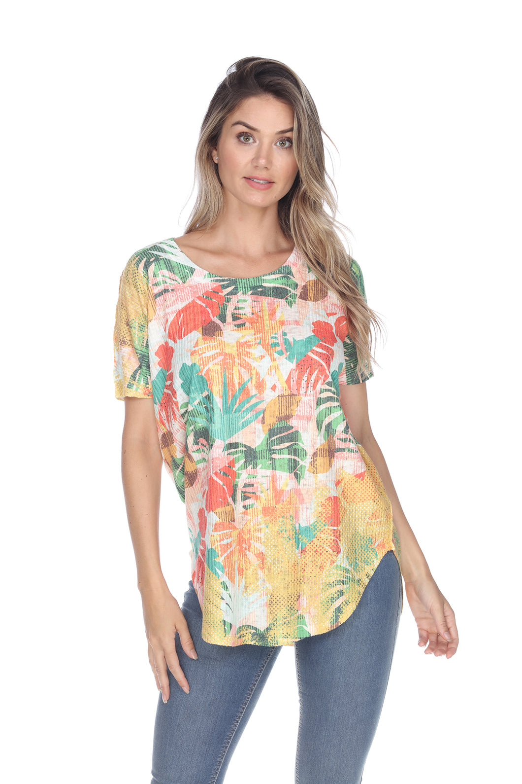 Inoah Tropical Fest Short Sleeve Top - Style T607RBU21
