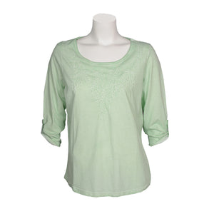 FDJ Embroidered 3/4 Sleeve Top