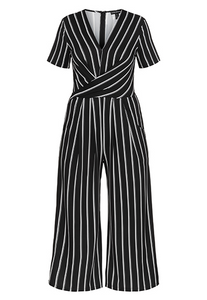 Tribal Short Sleeve Wrap Jumpsuit