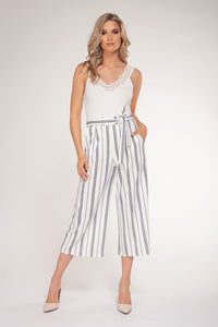 Black Tape Dressy Striped Capri