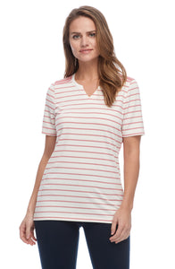 FDJ Stripe Crew Short Sleeve Striped  Top