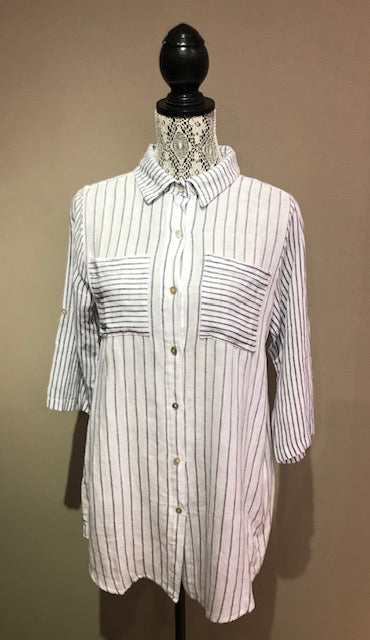 M from Italy Long Sleeve Stripe Shirt - Style 219668M