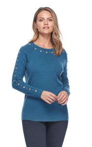 FDJ Ballet Neck Sweater Eyelet Ball Detail - Style 1448523
