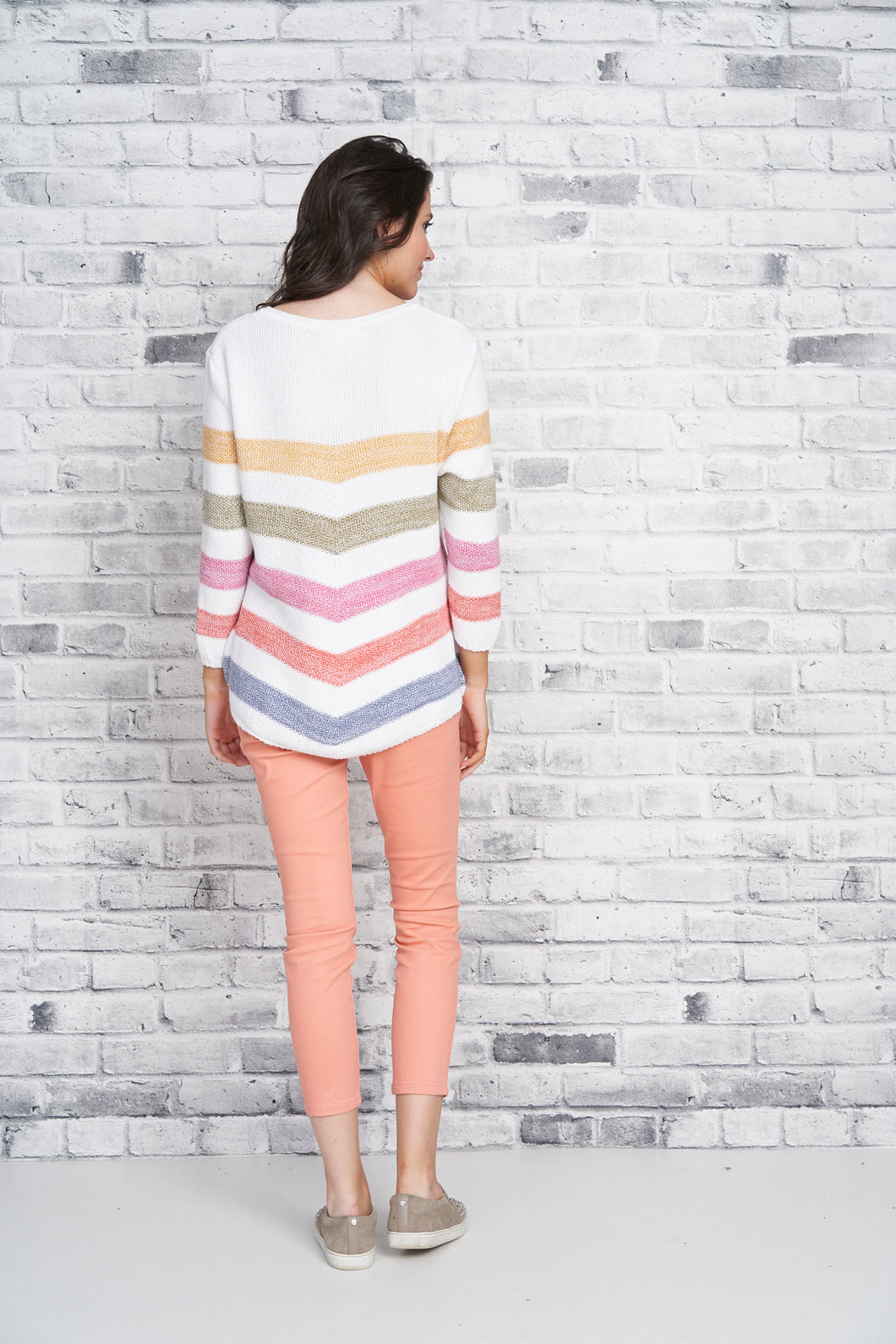 Cotton Country Vivian Striped Crewneck Sweater - Style 87193