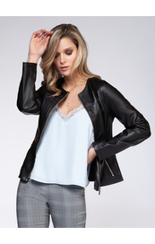 Black Tape Jacket Faux Leather - Style 1629259T