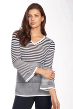 Load image into Gallery viewer, FDJ Mesh Stripe V Neck Bell Sleeve - Style 1695249