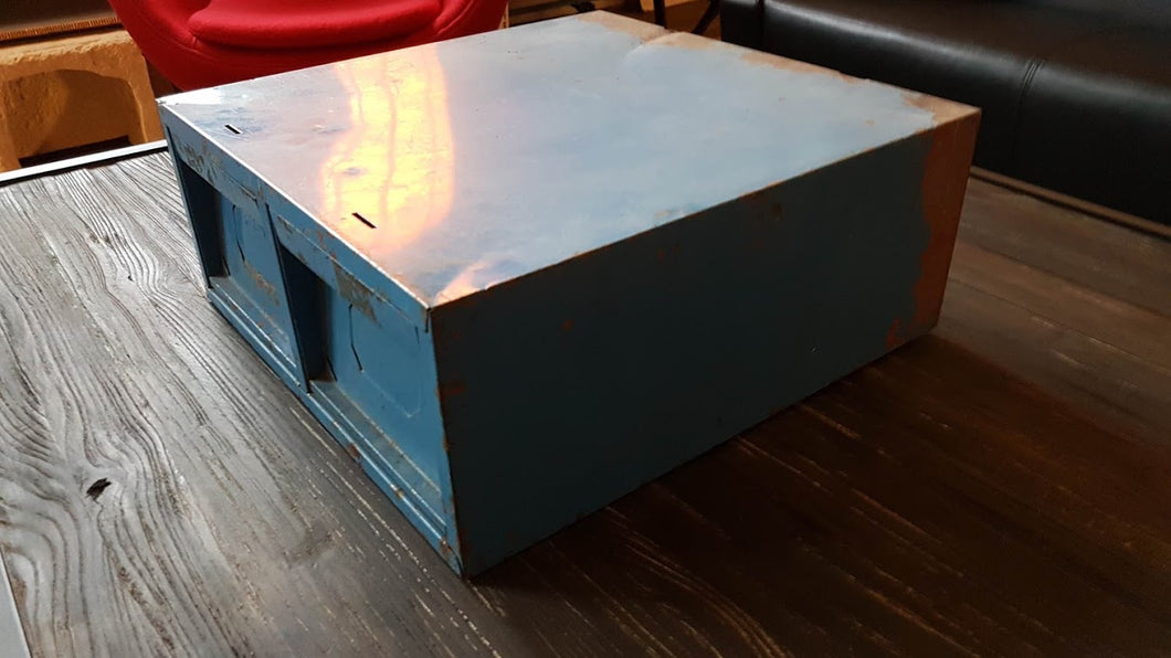 Vintage Blue  File Cabinet - Industrial furniture clearance - HT Interiors Furniture Store Vancouver