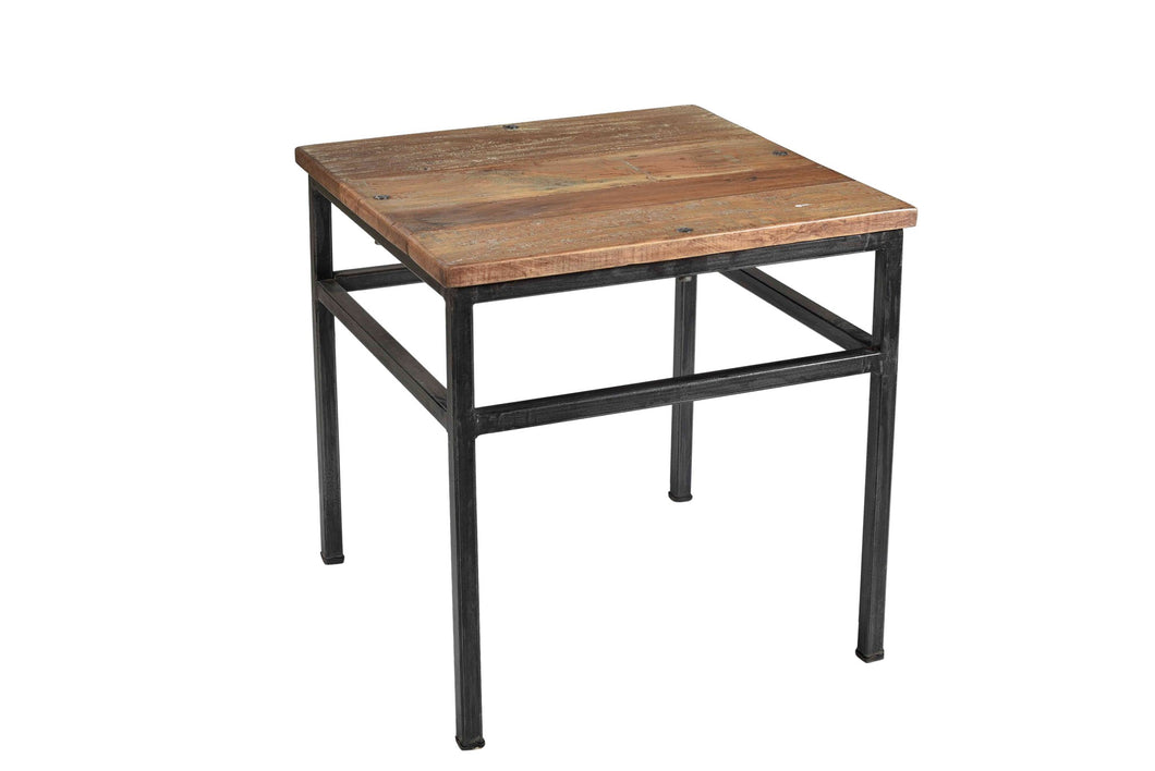Metal Leg Recycled Wood Top Side Table - Industrial furniture clearance - HT Interiors Furniture Store Vancouver