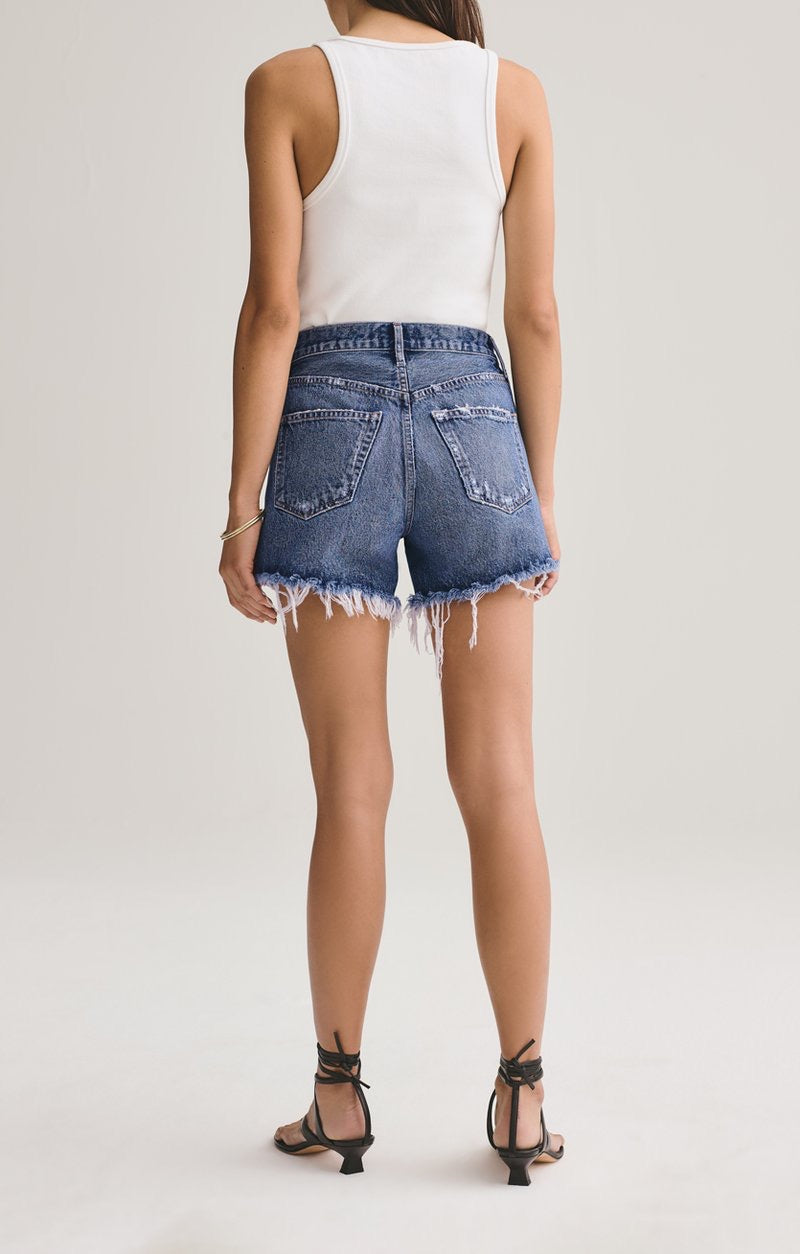 AGOLDE Reese Relaxed Cut Off Denim Short In Precision