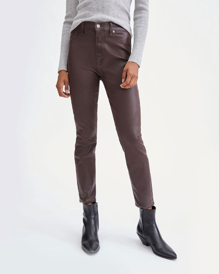 7 For All Mankind Coated High Waist Ankle Skinny in Mocha