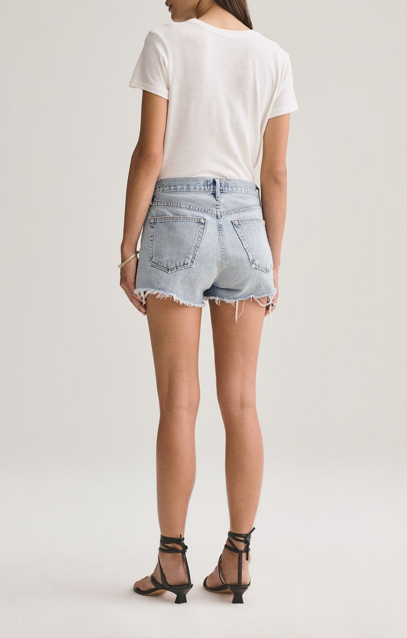 AGOLDE Parker Vintage Denim Cut Off Short In Riptide