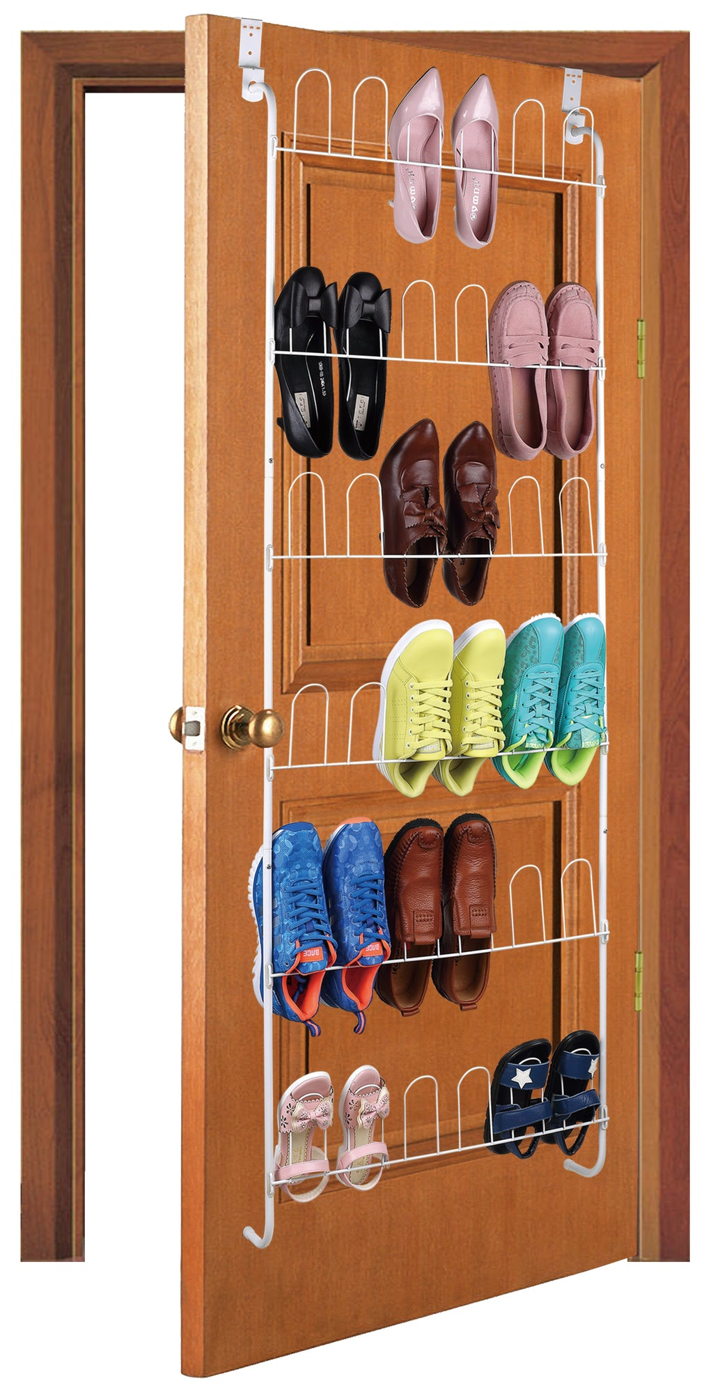 J&V TEXTILES Stackable Shoe Storage and Organizer Racks 4-Tier 6-Tier Over The Door or Stackable (Over The Door Rack) - Shoe Storage - J&V Textiles Premiere Home Goods