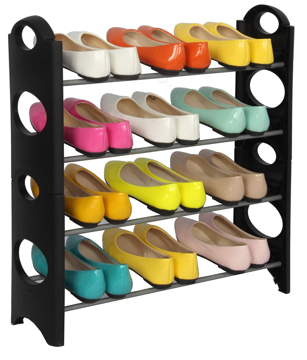 J&V TEXTILES Stackable Shoe Storage and Organizer Racks 4-Tier 6-Tier Over The Door or Stackable (Stackable Rack) - Shoe Storage - J&V Textiles Premiere Home Goods