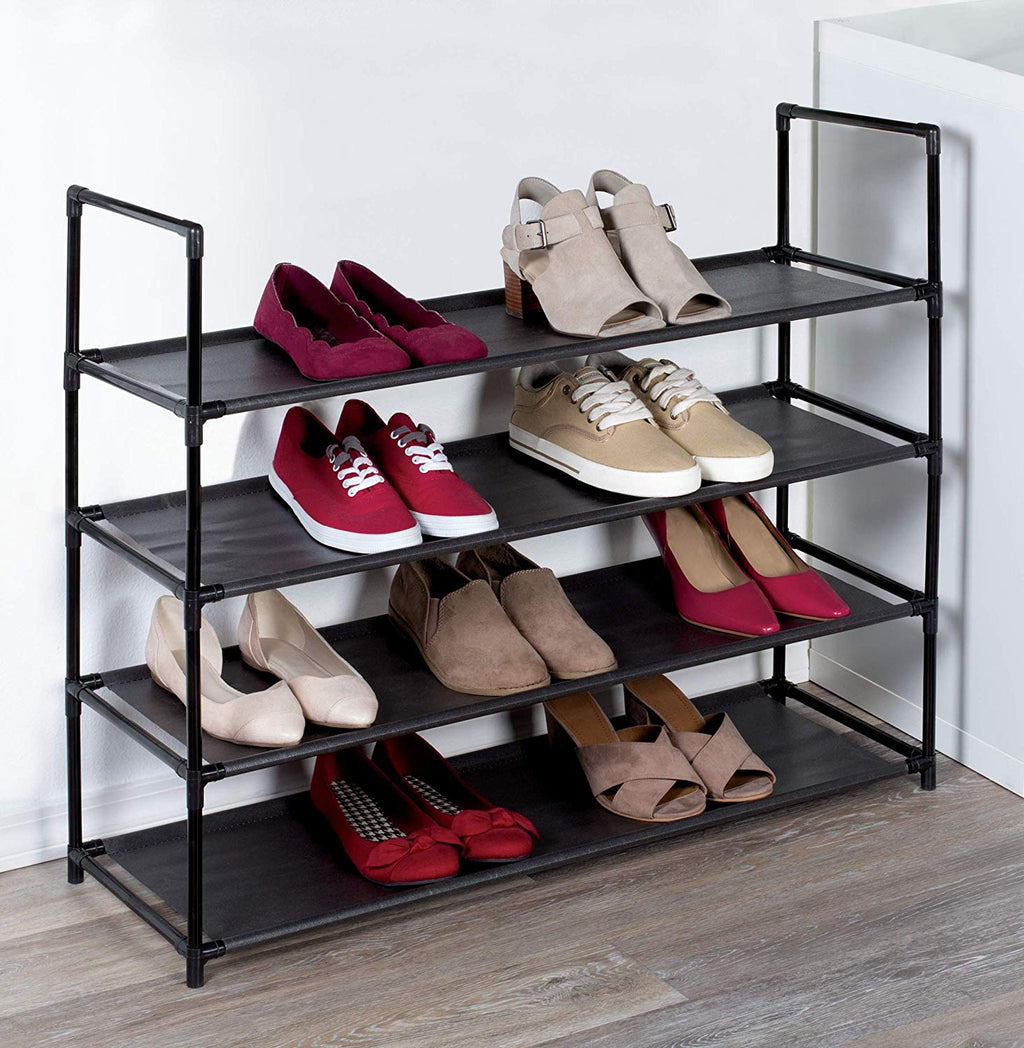 J&V TEXTILES Stackable Shoe Storage and Organizer Racks 4-Tier 6-Tier Over The Door or Stackable (Black 4-Tier) - Shoe Storage - J&V Textiles Premiere Home Goods