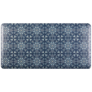 "20"" x 39"" Oversized Cushioned Embossed Gentle Step Anti-Fatigue Kitchen Mat (Tile Blue) - Kitchen Mats - J&V Textiles Premiere Home Goods"