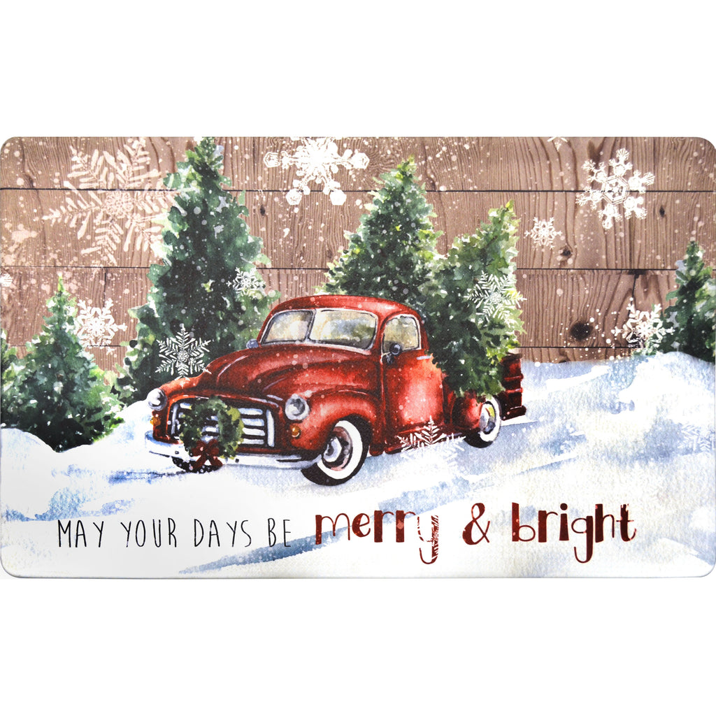 "20""x32"" Holiday Themed Cushioned Anti-Fatigue Kitchen Mat (May Your Days Be Merry) - Kitchen Mats - J&V Textiles Premiere Home Goods"
