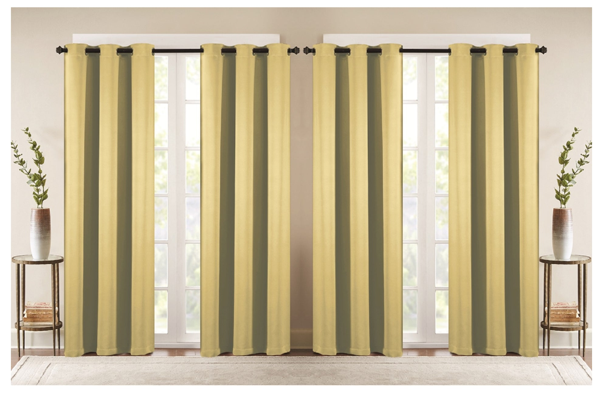 J&V TEXTILES 4-Panels: Room Darkening Thermal Insulated Blackout Grommet Window Curtain Panels for Living Room (Beige) - Window Curtains - J&V Textiles Premiere Home Goods