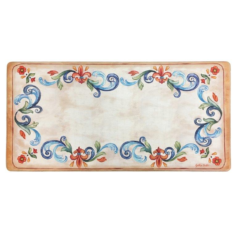 "Oversized 20""x39"" Anti-Fatigue Embossed Floor Mat (TUSCAN FLEUR CREAM) - Kitchen Mats - J&V Textiles Premiere Home Goods"