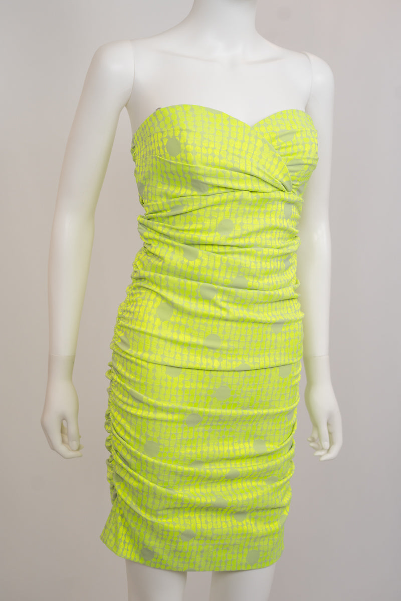 Nicole Miller Green Tube Sinched Tube Dress
