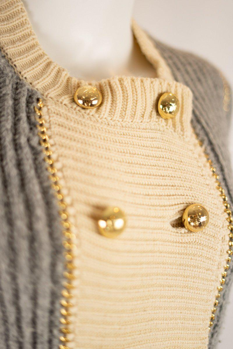 Tory Burch Gray with Gold Chain Detail