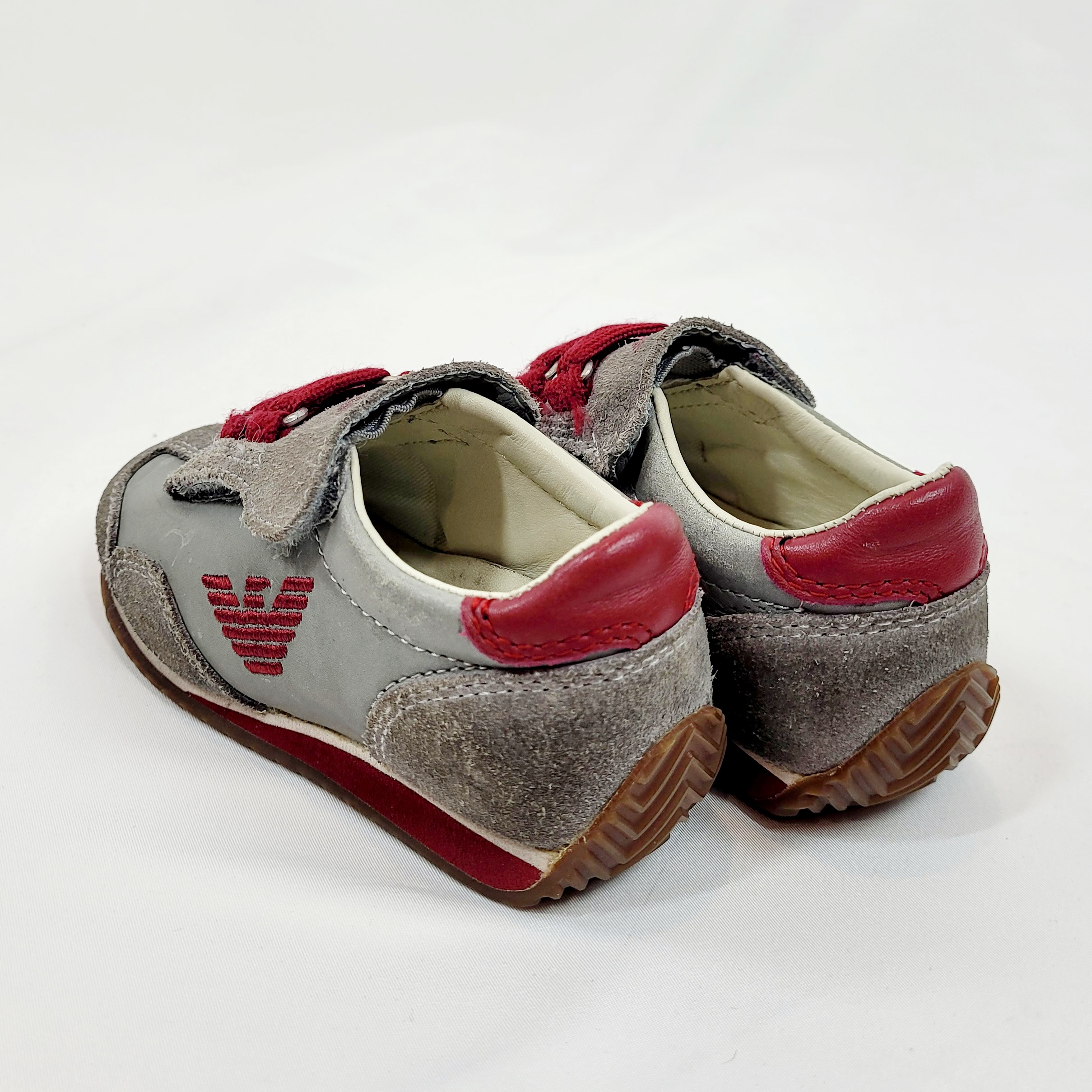 Armani Junior Grey and Red Sneakers