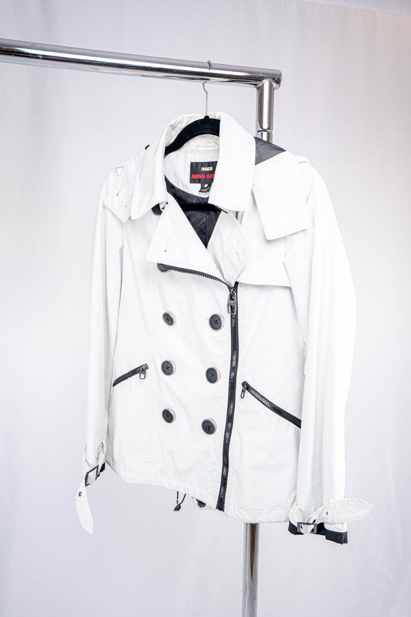 Miss Sixty Hooded water repellant jacket, mid length off white/black
