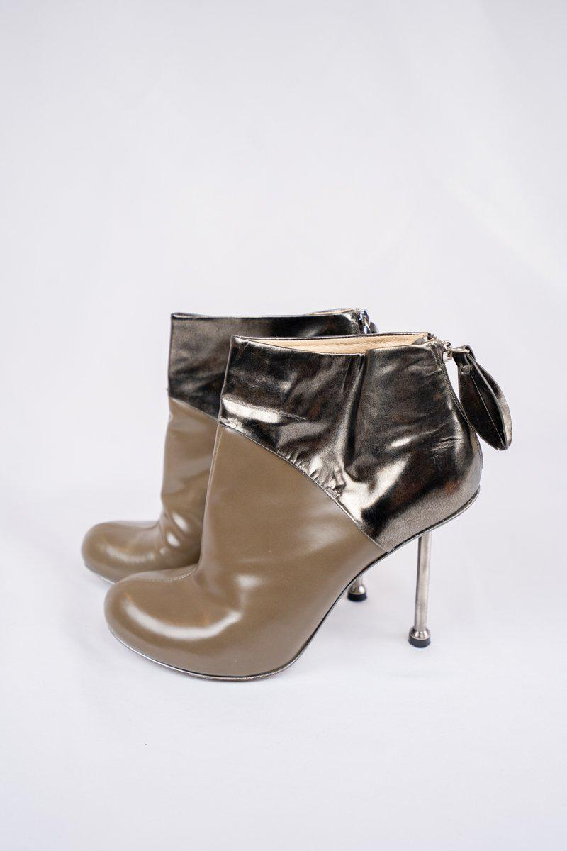 Camilla Skovgaard Leather Beige Bronze Booties 4.5 Inch