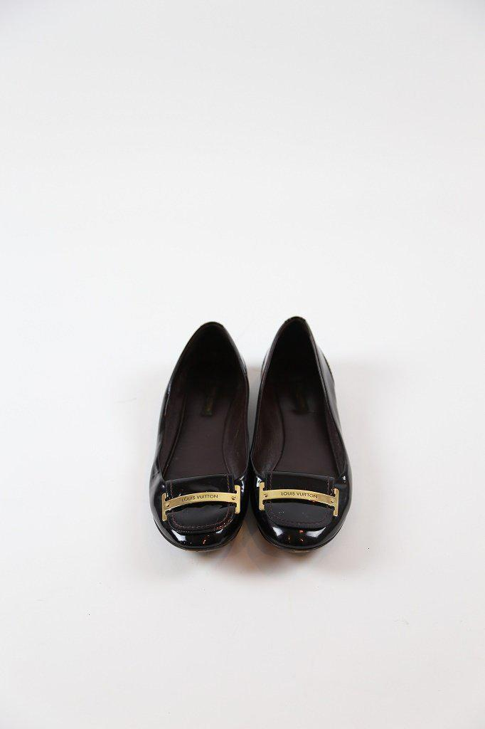 Louis Vuitton Burgundy Patent Leather Flats