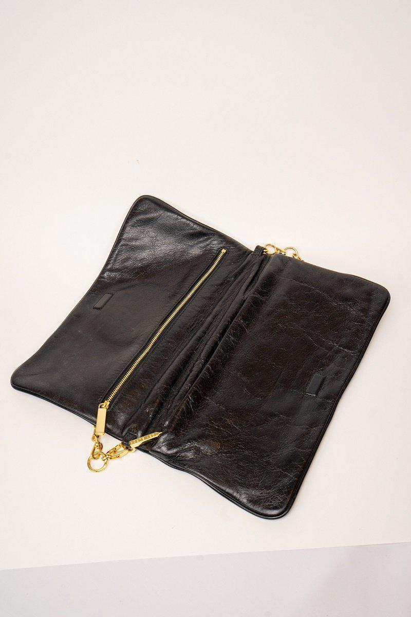 Tory Burch Black Leather Fold Over Shoulder Bag