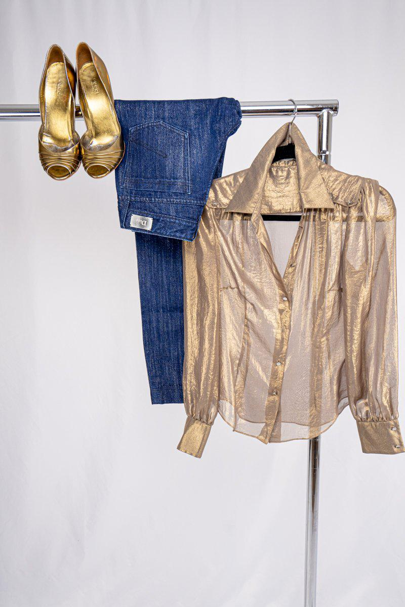 Karen Millen Gold Button Up Blouse