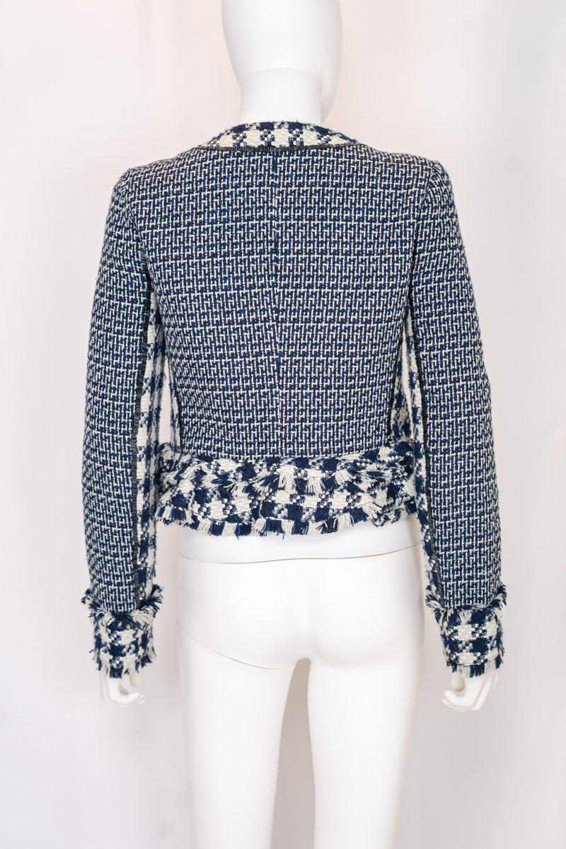 Tory Burch Navy Cropped Ruffle Tweed Check Jacket