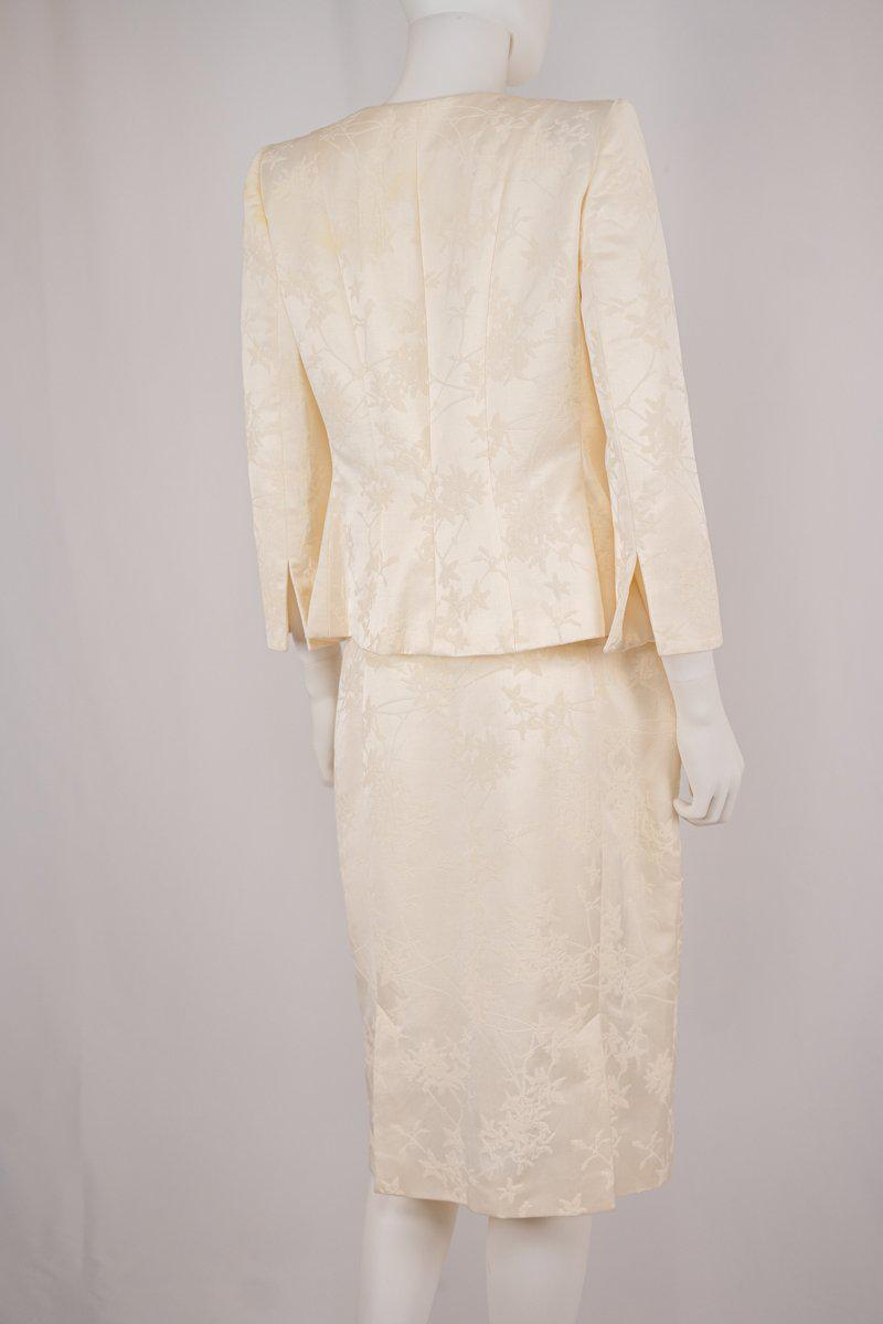Armani Collezioni Ivory Jacquard Jacket and Skirt Set