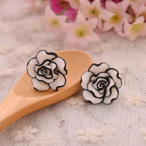 Black & White Rose Studs