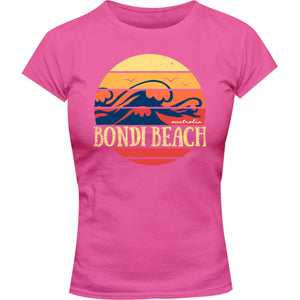 Bondi Circle Wave - Ladies Slim Fit Tee - Graphic Tees Australia