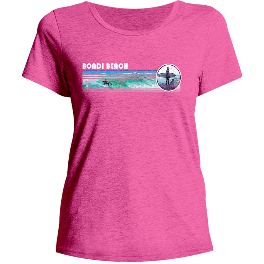 Bondi Landscape Surfer - Ladies Relaxed Fit Tee - Graphic Tees Australia