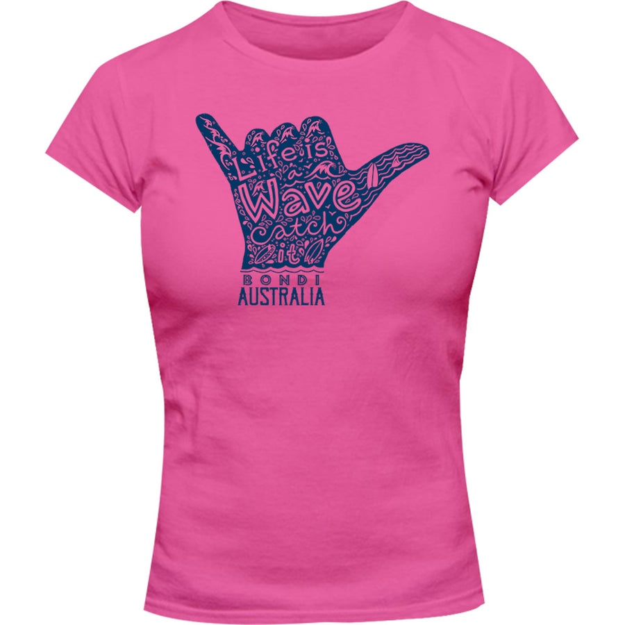Bondi Life Is A Wave - Ladies Slim Fit Tee - Graphic Tees Australia