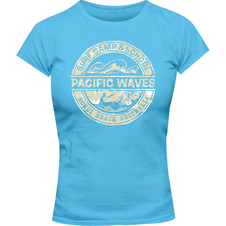 Bondi Pacific Waves - Ladies Slim Fit Tee - Graphic Tees Australia