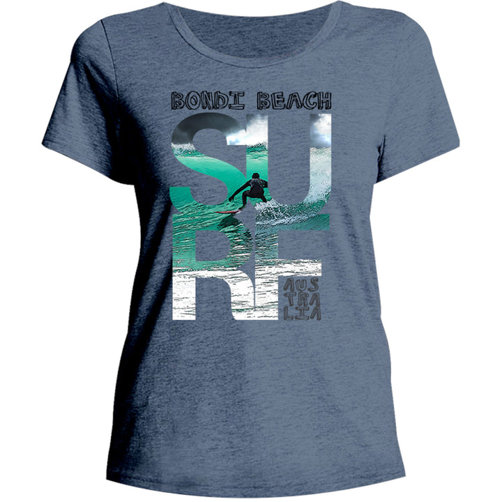 Bondi Surf Photo in Word - Ladies Relaxed Fit Tee - Graphic Tees Australia