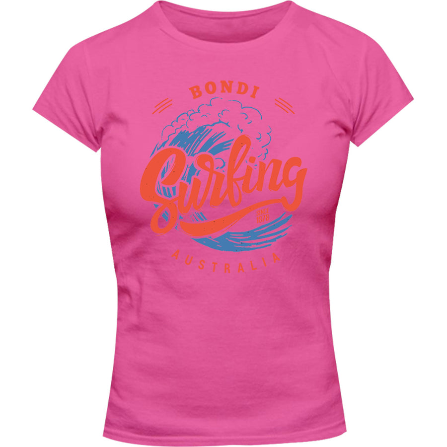 Bondi Surfing - Ladies Slim Fit Tee - Graphic Tees Australia