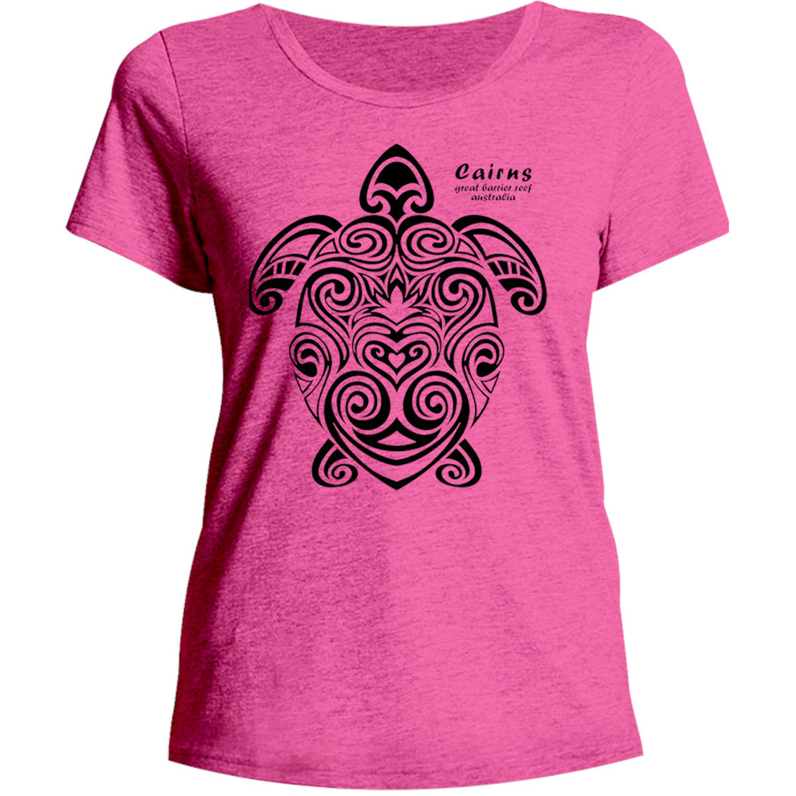 Cairns Turtle Tribal - Ladies Relaxed Fit Tee - Graphic Tees Australia