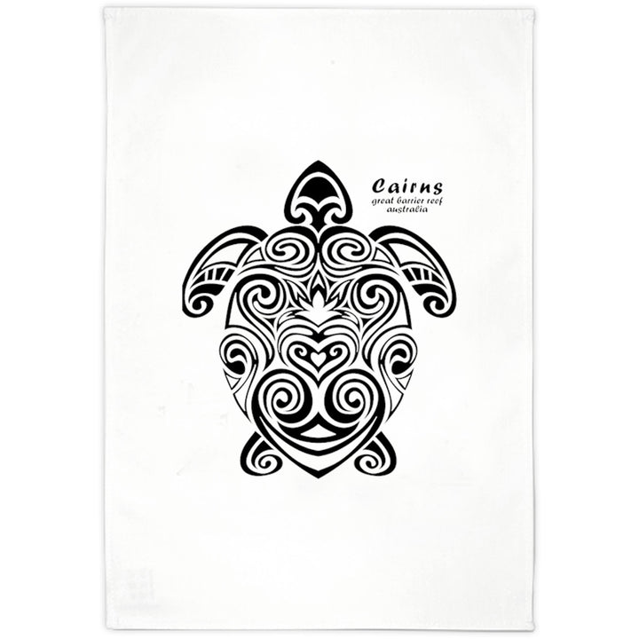 Cairns Turtle Tribal - Tea Towel - Graphic Tees Australia