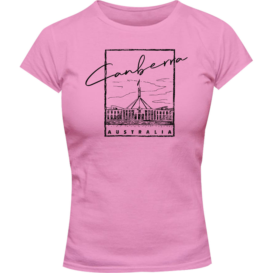 Canberra Australia Parliament in Square - Ladies Slim Fit Tee - Graphic Tees Australia