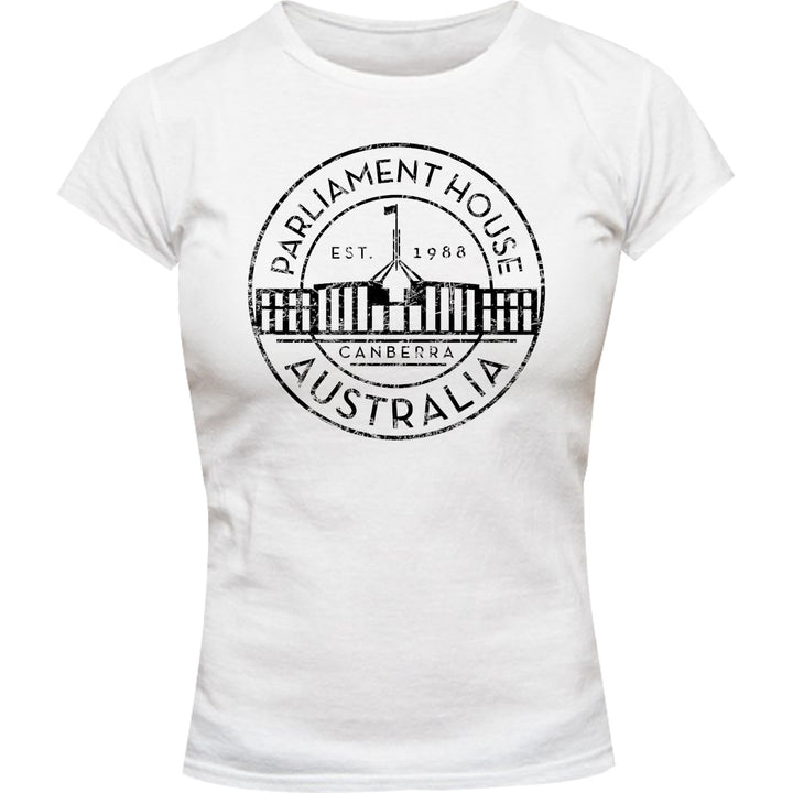 Canberra Australia Varsity Circle - Ladies Slim Fit Tee - Graphic Tees Australia