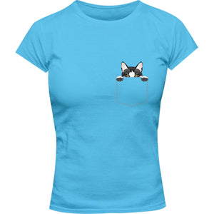 Cat In Pocket - Ladies Slim Fit Tee - Graphic Tees Australia
