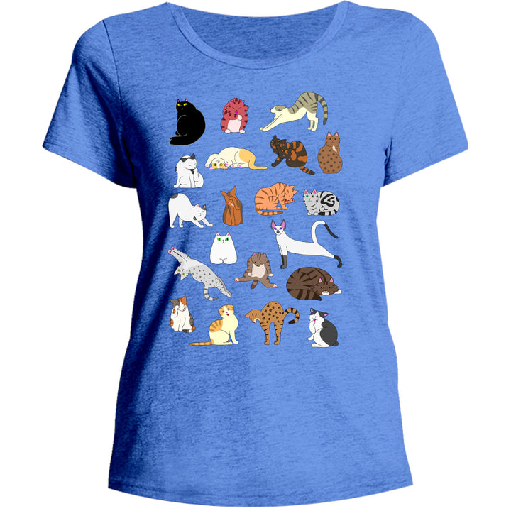 Cat Poses - Ladies Relaxed Fit Tee - Graphic Tees Australia