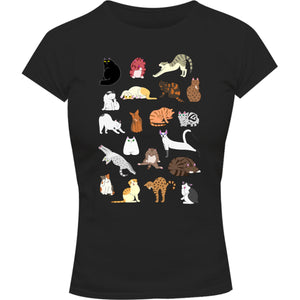 Cat Poses - Ladies Slim Fit Tee - Graphic Tees Australia