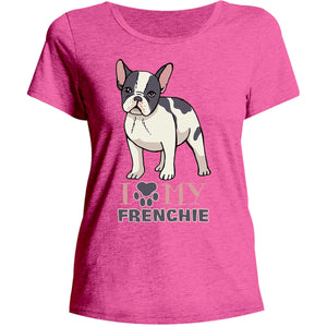 Dog Paw Love My Frenchie - Ladies Relaxed Fit Tee - Graphic Tees Australia