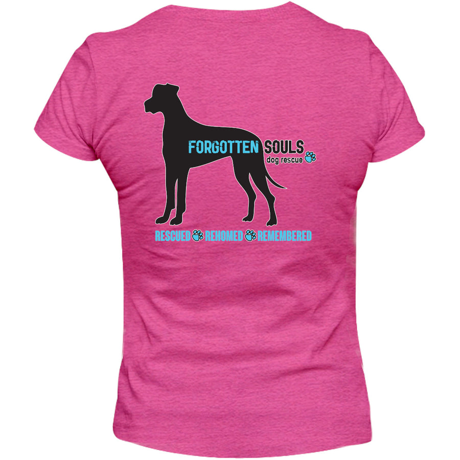 Forgotten Souls Dog Rescue front & back - Ladies Relaxed Fit Tee - Graphic Tees Australia