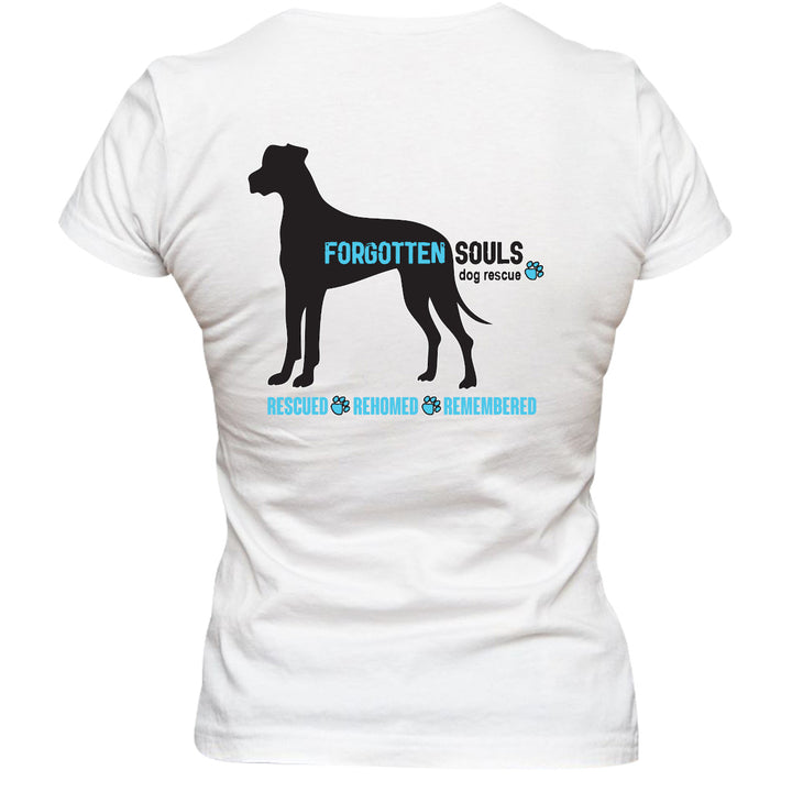 Forgotten Souls Dog Rescue front & back - Ladies Slim Fit Tee - Graphic Tees Australia