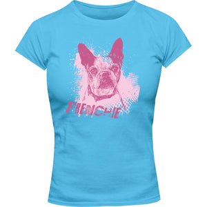 Frenchie Colour Overlay - Ladies Slim Fit Tee - Graphic Tees Australia